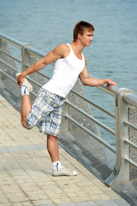 Stretching exercises before sport jogging
